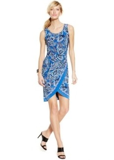 INC International Concepts Sleeveless Printed Tulip-Hem Sheath Dress