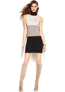 INC International Concepts Sleeveless Turtleneck Colorblock Sweater Dress