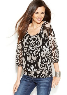 INC International Concepts Smocked Printed Peasant Top
