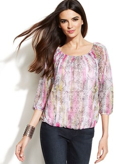 INC International Concepts Snakeskin-Print Peasant Top