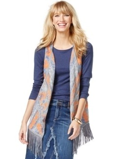Inc International Concepts Southwest-Print Fringe Vest, Only at Macy's
