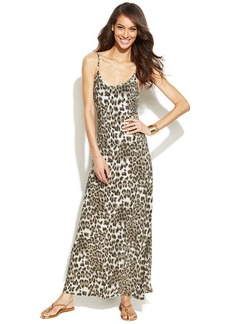 INC International Concepts Petite Spaghetti-Strap Animal-Print Maxi Dress
