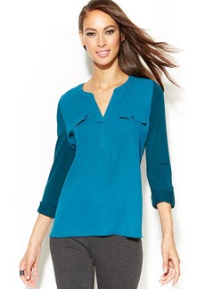 INC International Concepts Split-Neck Roll-Tab-Sleeve Top