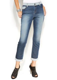 INC International Concepts Straight-Leg Colorblock Jeans, Dark Wash