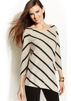 INC International Concepts Striped Asymmetrical Top
