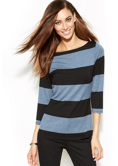 INC International Concepts Striped Boat-Neck Top