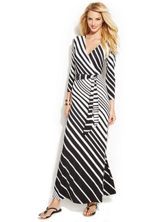 INC International Concepts Petite Striped Faux-Wrap Maxi Dress
