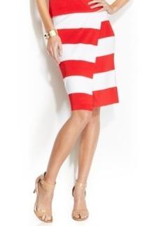 INC International Concepts Striped Faux-Wrap Pencil Skirt