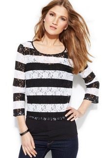 INC International Concepts Striped Layered-Look Lace Top