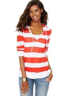 Inc International Concepts Striped Perforated Hoodie