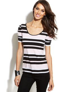 INC International Concepts Striped Ruched-Sleeve Top