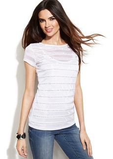 INC International Concepts Studded Illusion-Striped Top
