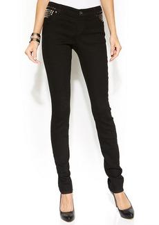 INC International Concepts Studded Skinny Jeans, Black Wash