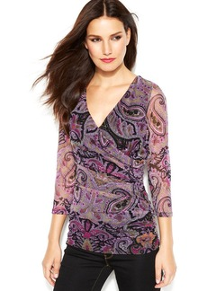 INC International Concepts Petite Surplice-Neck Ruched Printed Top