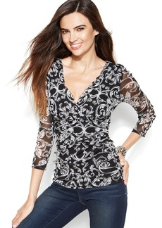 INC International Concepts Surplice-Neck Ruched Printed Top