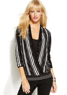 INC International Concepts Surplice-Neck Striped Sequin Sweater
