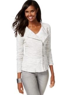 Inc International Concepts Textured Asymmetrical-Zip Peplum Jacket, Only at Macy's