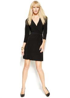 INC International Concepts Three-Quarter-Sleeve Faux-Wrap Dress