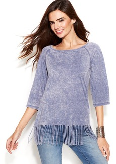 INC International Concepts Three-Quarter-Sleeve Fringed Top