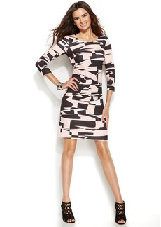 INC International Concepts Three-Quarter-Sleeve Geo-Print Sheath Dress