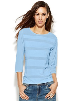 INC International Concepts Three-Quarter-Sleeve Illusion-Striped Top