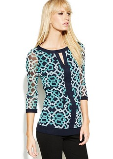 INC International Concepts Petite Three-Quarter-Sleeve Printed Keyhole Top
