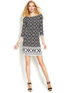 INC International Concepts Petite Three-Quarter-Sleeve Printed Shift Dress