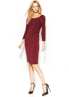 INC International Concepts Three-Quarter-Sleeve Ruched Sheath Dress