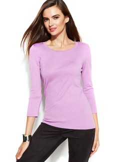 INC International Concepts Three-Quarter-Sleeve Scoop-Neck Sweater