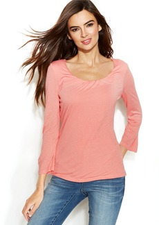 INC International Concepts Three-Quarter-Sleeve Scoop-Neck Top