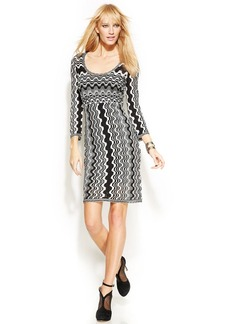 INC International Concepts Three-Quarter-Sleeve Zig-Zag Sweater Dress
