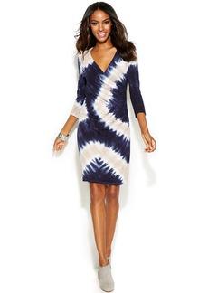 INC International Concepts Tie-Dye Faux-Wrap Dress