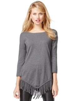 Inc International Concepts V-Hem Fringed Tunic Sweater, Only at Macy's