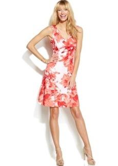 INC International Concepts V-Neck Printed Scuba Flare Dress