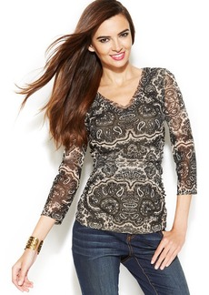 INC International Concepts V-Neck Ruched Printed Top