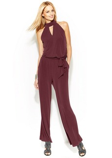 INC International Concepts Petite Wide-Leg Sleeveless Halter Jumpsuit