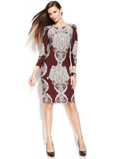 INC International Concepts Petite Zipper-Trim Printed Sheath Dress