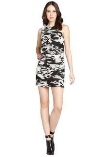Isaac Mizrahi black and cream sleeveless novelty lace dress