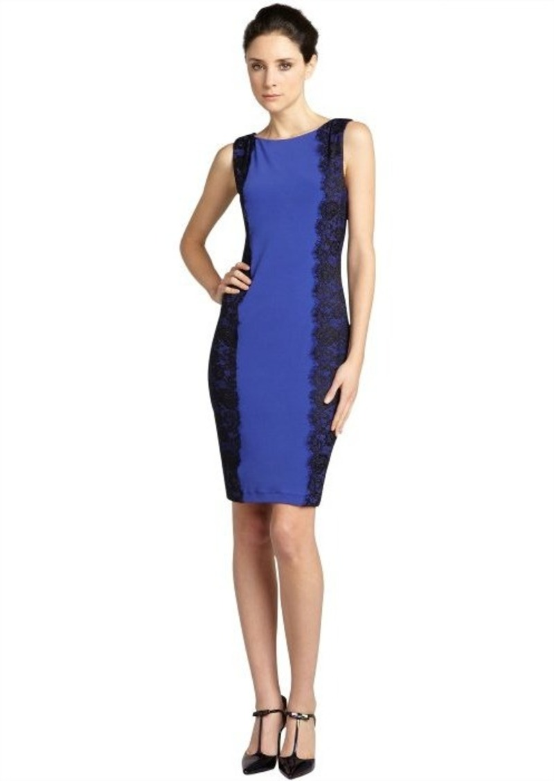 Isaac Mizrahi cobalt jersey and lace shift dress