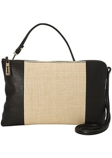 Isaac Mizrahi Cybil Clutch, Natural Straw/Black Pebble, One Size