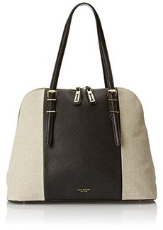Isaac Mizrahi Cybil Satchel, Black Pebble/Natural Linen, One Size