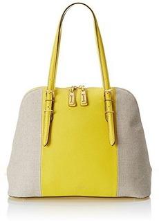 Isaac Mizrahi Cybil Satchel, Canary Yellow Pebble/Natural Linen, One Size