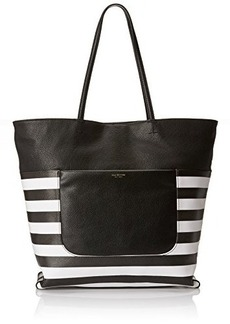 Isaac Mizrahi Lileth Double Handle Shoulder Bag, Black/White Stripes On Coated Canvas/Black Pebble, One Size