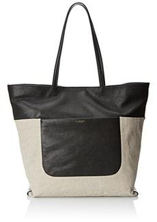 Isaac Mizrahi Lileth Double Handle Shoulder Bag, Natural Linen/Black Pebble/Black Lizard, One Size