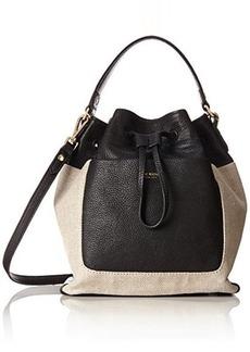 Isaac Mizrahi Lileth Drawstring IM92468 Shoulder Bag, Natural Linen/Black Pebble/Black Lizard, One Size