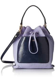 Isaac Mizrahi Lilith Drawstring Shoulder Bag, Lilac Pebble/Navy, One Size