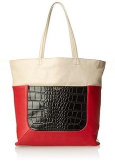 Isaac Mizrahi Lillian Double Shoulder Bag,Cayenne Red Pebble/Dove Grey Glazed/Black Crocodile,One Size