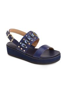 Isaac Mizrahi New York 'Bling' Studded & Crystal Embellished Leather Platform Sandal (Women)
