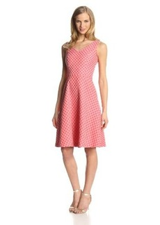 Isaac Mizrahi New York Women's Sleeveless Double V-Neck Jacquard Dress