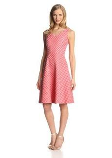 Isaac Mizrahi New York Women's Sleeveless Double V-Neck Jacquard Dress